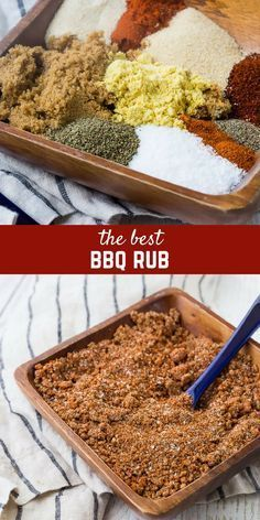 This BBQ rub is the perfect sweet and savory rub for pork and chicken. It's easy to make with ingredients you probably already have in your pantry. Don't grill without it! Homemade Dry Mixes, Homemade Bbq, Homemade Spices, Homemade Seasonings, Dry Rub Recipes, Meat Recipes, Cooking Recipes, Spinach Recipes, Cooking Tips