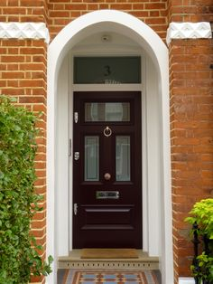 The London Door Company 'Pink Red' paint colour - Satin Front Door Colors, House Front, Victorian Door, Space Saving Doors, Victorian Porch, Doors And Floors, Porch Doors, Victorian Terrace, Front Door Design
