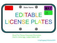 Editable license plates for road trip theme