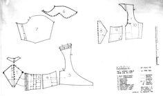 bodice, pattern, from Digitalt Museum Costume Patterns, Doll Clothes Patterns, Clothing Patterns, Historical Costume, Historical Clothing, Historical Dress, Norwegian Clothing, Norwegian Style, 18th Century Costume