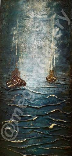 Artist: Masoura Niki Title: carat 50x110dim mixed media  760euros Mixed Media, Sea, Artist, Painting, Painting Art, Mixed Media Art, Ocean, Paintings, Painted Canvas