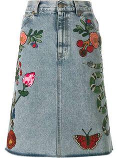 Gucci джинсовая юбка с вышивкой