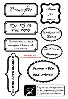 Etiquettes gratuites à télécharger et à imprimer pour le scrapbooking : fête des mères - Sam fait son scrap