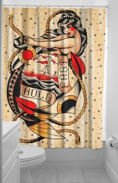 #SOURPUSS #HOLDFAST #SHOWER #CURTAIN #Sailor #Ship #Anchor #Sea #Mermaid #Tattoo #Bathroom #Sourpuss