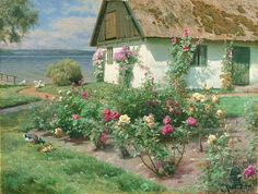 ۩۩ Painting the Town ۩۩ city, town, village house art - Cottage | Danish Artist Peder Monsted (1859-1941)