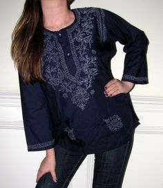 Huge customer favorite Indian cotton tunics that ships from CT USA so beautiful in feel, style and a high comfort piece of clothing for women of all ages. http://www.yourselegantly.com/women-s-tunics/cotton-tunic-tops-xs-4x.html