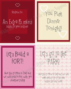 DIY Coupon Book for Daughter -- Template from other source ...