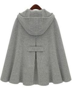 Grey Hoodie Two Buckle Woolen Poncho Coat - http://Sheinside.com