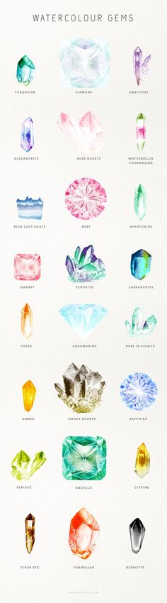 Watercolour Gem Creator Kit {For Photoshop} By: Mindful Pixels on Creative Market Jewelry Illustration, Crystal Illustration, Jewellery Sketches, Gouache, Art Tutorials, Tattoo Inspiration, Watercolor Art, Watercolour Tattoos, Watercolor Journal