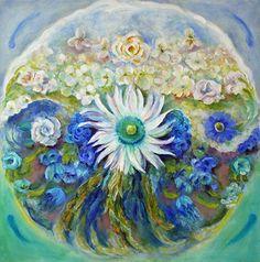 "Flower Mandala #4, Sea and Sky by Julia Watson Oil ~ 18"" x 18"" $795 http://fineartbyjulia.com/workszoom/1997067"