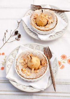 Poached Pear and Almond Souffle Cakes