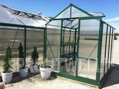 Greenhouses :: 1.9m Wide Garden Pro :: Garden Pro 2500 Narrow Model - Sproutwell Australia Polycarbonate Greenhouses EXTERNAL SIZE: Length 2541mm x Width 1929mm x Height 2500mm