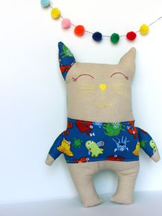 Colorful Stuffed Cat with Monsters Gift for by HeyTherePricklyPear