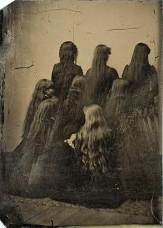 ca. 1880, [tintype portrait of eight women displaying their hair] via the International Center of Photography