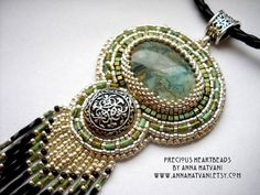 SALE - Bead Embroidery NecklaceSD 81,7 turquoise Silver Bead Embroidered