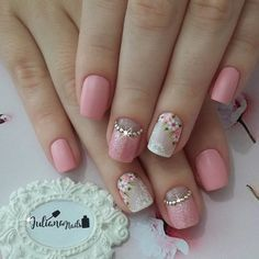Unhas decoradas unhas decoradas perfeitas, unhas rosa decoradas, un Cute Nails, Pretty Nails, Hair And Nails, My Nails, Finger, Flower Nail Art, Art Flowers, Best Nail Art Designs, Perfect Nails