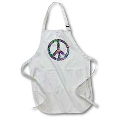 3dRose Colorful Peace Sign - enjoy this digital artwork featuring a Colorful Peace Sign, Medium Length Apron, 22 by 24-inch, With Pouch Pockets
