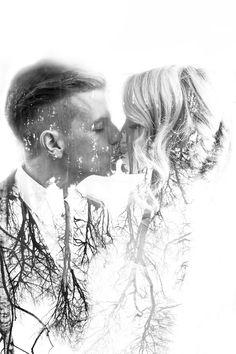 Wedding photography, artistic double exposure edit of couple - E Photography