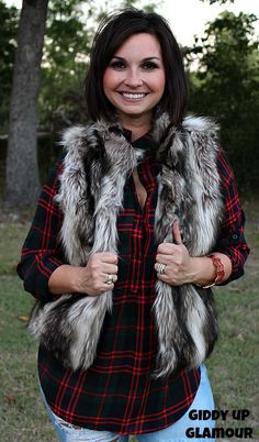 Snuggle Up In Style Faux Fur Vest in Dark Brown www.gugonline.com $49.95
