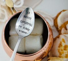 Merry Christmas Ya Filthy Animal -Hand Stamped Vintage Spoon