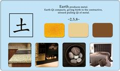 Earth:  Feng Shui Element. Altar in NW corner should have metal and earth elements.