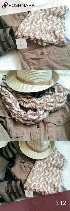 Chevron Infinity Scarf NWT Tan and white woven infinity scarf. Soft cotton on inside. Perfect to accessorize your Fall outfit! Accessories Scarves & Wraps