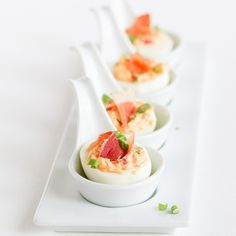 A Forks Tale: Gourmet Deviled Eggs with Speck Ham and Roasted Red Pepper