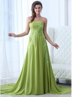 Special Occasion Dresses - $162.99 - A-Line/Princess Strapless Chapel Train Chiffon Evening Dress With Ruffle Lace  http://www.dressfirst.com/A-Line-Princess-Strapless-Chapel-Train-Chiffon-Evening-Dress-With-Ruffle-Lace-017017354-g17354