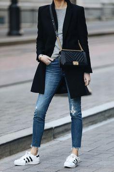 71923991e2d364 Woman Wearing Zara Black Wool Coat Grey Sweater Madewell Denim Jeans adidas  superstar sneakers Chanel Black