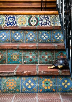So Elevated - 15 Unique Ways To Style Tile - Photos Tile Patterns, Tile Stairs, Outdoor Tiles, Patio Tiles, Outdoor Step Tiles, Tiled Staircase, Painting Tile, Tile Steps, Outdoor Stairs