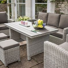 Palma Casual Dining Lounge Suite White Wash - Bents All Weather Garden Furniture, Outdoor Furniture Sets, Outdoor Decor, Lounge Suites, New Set, Dining, Home Decor, Casual, Style