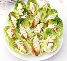 Lemon chicken with tarragon dressing Little Gem lettuces are great for making a lite bite for a wedding or party buffet >> Check out Front Door Farms HERE: www. Chicken Appetizers, Appetizer Recipes, Chicken Recipes, Dinner Recipes, Appetizer Ideas, Buffet Recipes, Canapes Recipes, Drink Recipes, Snacks Für Party