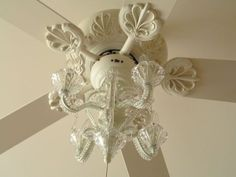Ceiling fan with chandelier, yes please! I'd love if I could find the chandelier part as a light kit at my local hardware store. Ceiling Fan Chandelier, White Ceiling Fan, Ceiling Lights, Chandelier Ideas, Chandeliers, Recycled Lamp, Best Ceiling Fans, Big Girl Rooms, Bedroom Decor