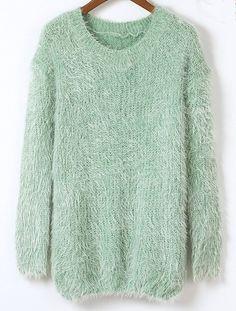 Green Long Sleeve Fluffy Basic Loose Sweater US$19.98