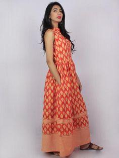 Peach Coral Beige Ikat Handwoven Long Sleeveless Cotton & Linen Dress With Pockets & Front Buttons - D3056601