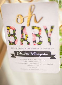 Invitation from Geometric Floral Baby Shower at Kara's Party Ideas. See more at karaspartyideas.com!