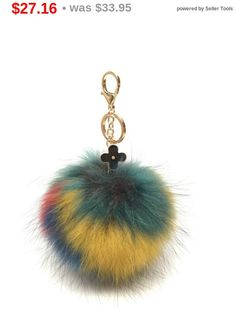 NEW Collection Dimensional Swirl Multi Color Raccoon Fur Pom Pom bag charm clover flower charm keychain 4 colors piece no.250