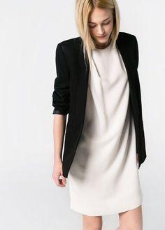 White dress + black blazer