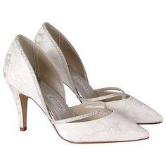Buy Rainbow Club Luisa Floral Print Glitter Trim Shoes, Ivory Online at johnlewis.com
