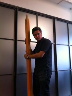 Ben Willbond.... with a giant pencil...