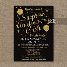 Surprise Th Or Any Anniversary Party Invitation  Anniversary