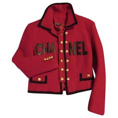 Red Wool Jacket CHANEL (36.817.330 VND) ❤ liked on Polyvore featuring outerwear, jackets, chaqueta, coats, chanel, chanel jacket, woolen jacket, wool jacket and red wool jacket