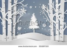 snowflakes and christmas tree.paper art style.