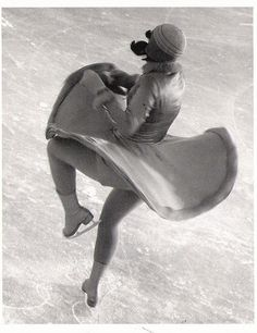 "Martin Munkacsi, ""Norwegian champion Edel Randem, doing a pirouette,"" ca. 1931. Courtesy The Estate of Joan Munkacsi"