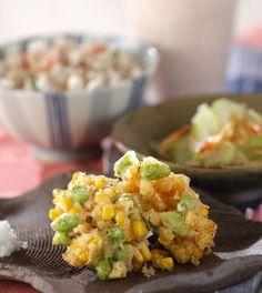 「枝豆とコーンの落とし揚げ」の献立・レシピ - 【E・レシピ】料理のプロが作る簡単レシピ/2008.08.22公開の献立です。
