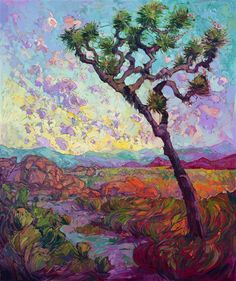Stunning contemporary impressionist landscape oil painting by Erin Hanson.