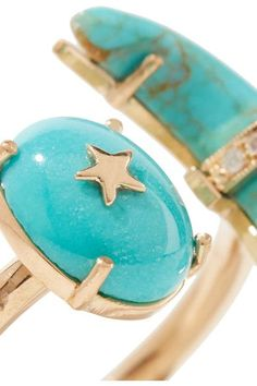 Andrea Fohrman - Crescent Moon 18-karat Gold, Turquoise And Diamond Ring - 7