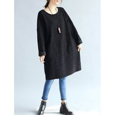 SHARE & Get it FREE | Fuzzy Double Pocket Loose DressFor Fashion Lovers only:80,000+ Items·FREE SHIPPING Join Dresslily: Get YOUR $50 NOW!