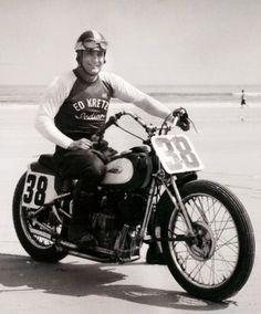 "Ed ""Iron Man"" Kretz at Daytona beach on his big base Indian Scout"