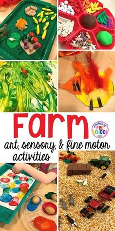 All our favorite farm sensory, fine motor, and art activities. Designed for preschool, pre-k, and kindergarten kiddos. - Kids education and learning acts Farm Animals Preschool, Farm Animal Crafts, Preschool Crafts, Preschool Farm Theme, Summer Themes For Preschool, Farm Animals For Kids, Preschool Ideas, Kid Crafts, Farm Activities